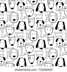 Hand Drawn Cute Dog And Bone Vector Pattern. Doodle art.