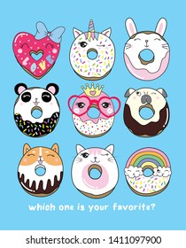 Hand drawn cute donut illustration for t shirt printing