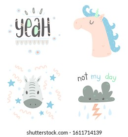 """Hand drawn cute doodle animals and lettering. Unicorn, zebra, dark cloud and lettering """"yeah"""" as separate illustrations. Vector"""