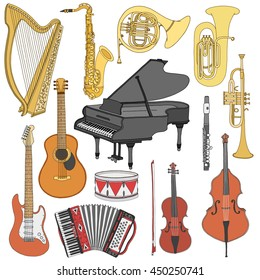 Hand drawn cute, doodle, sketch musical instruments. Vector icons set