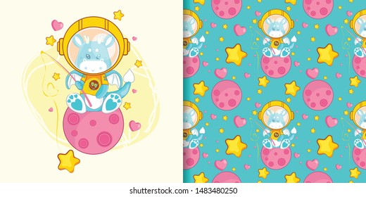hand drawn cute dragon astronaut with pattern set