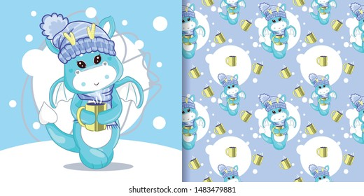 hand drawn cute dragon drink a coffee with pattern set