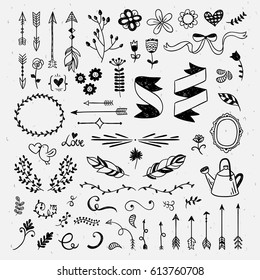 Hand drawn cute hand drawn elements. Hipster wedding card design: flowers, wreaths, ribbons and feather vintage vector illustrations