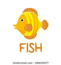Hand drawn cute fish vector illustration.