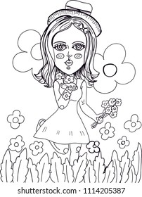 Girl Animal Flowers Illustration Coloring Pages Stock Vector