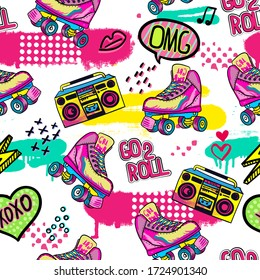 Hand drawn cute girls pattern with Bright rollers , recorder , for clothes, banner, girls, women, child.