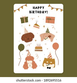 Hand drawn Cute Happy birthday Party elements with Slice of cake and candle, Balloons, Pink poodle puppy, Shiba inu dog, Apricot Toy wearing hat for party celebration, Gift box vector illustration.