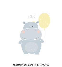 Hand drawn cute hippo vector illustration. Cartoon hippopotamus vector print. Can be used for design of t-shirts, posters and Baby Shower party