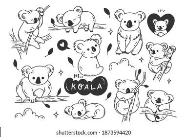 Hand drawn cute koala doodles