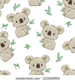Hand Drawn cute koala Pattern, print design background, children print textile design