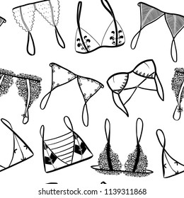 Hand drawn cute lace lingerie. Graphic vector seamless pattern. Black elements, white background.