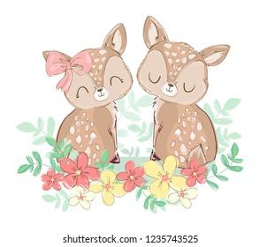 Hand Drawn Cute Little Deer. Print design, children print on t-shirt. Vector Illustration. Valentine's Day card.