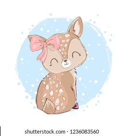 Hand Drawn cute little deer vector illustration. Children's print winter theme.