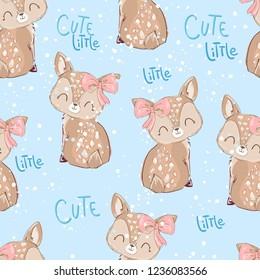 Hand Drawn cute little deer pattern seamless vector illustration. Children's print textile winter theme.