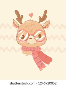 Hand Drawn cute little deer with glasses and a scarf with a heart on a decorative background. Greeting card for Valentine's day. Design print children's t-shirts. Vector.