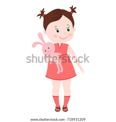Hand Drawn Cute Little Girl Pretty Stock Vector (Royalty Free ... 28cfb3d82b964