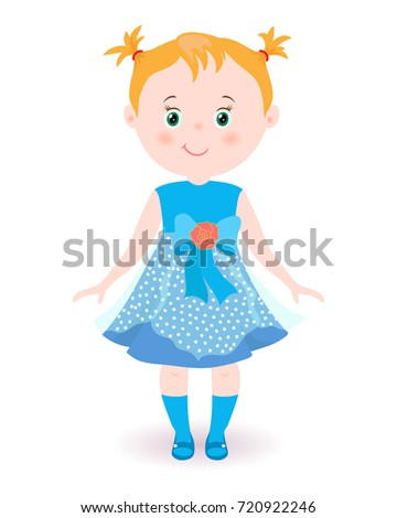 Royalty-free stock vector images ID  720922246. Hand drawn cute little girl.  Child in blue dress.Beautiful vector illustration. - Vector 17a7ee5761c1f