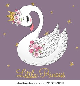 Hand drawn cute Little Princess Swan with crown and flowers. Vector Illustration EPS10.