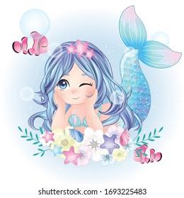 Hand drawn cute mermaid character