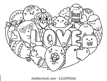 Love Coloring Page Hd Stock Images Shutterstock