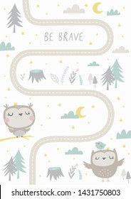 Hand drawn cute owl vector illustration. Scandinavian vector maze. Cartoon roads with owl, tree and car for kids. Vector maze cartoon poster. You can use it to print on the carpet for the decor of t