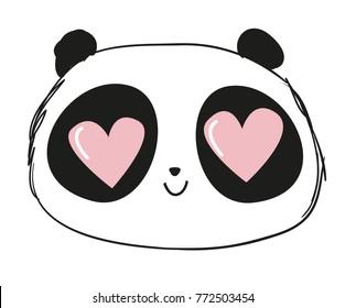 Hand Drawn Cute Panda Vector