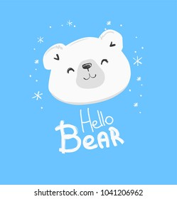 Hand Drawn Cute Polar Bear, Vector Illustration, print design, children print on t-shirt, sketch bear