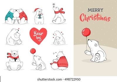 Hand drawn cute polar bears. Merry Christmas greetings card