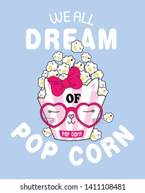 Hand drawn cute popcorn illustration for t shirt printing