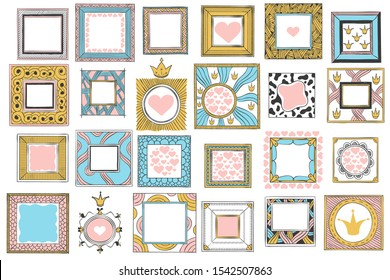 Hand drawn cute princess frames. Vintage color sketch frame, pink mirror border and doodle frames. Girly photo framing, retro princess card decoration. Isolated vector icons set