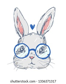 Hand drawn cute rabbit with glasses isolated on white background. Sketch rabbit childish illustration.