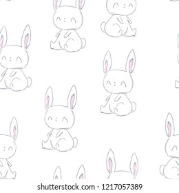 Hand Drawn cute rabbit pattern seamless