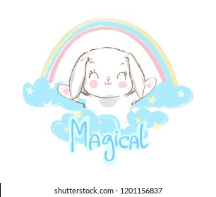 Hand Drawn Cute Rabbit and rainbow, sketch vector illustration, children print on t-shirt, Magical text