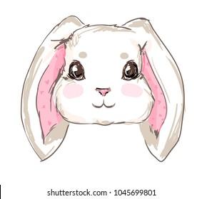 Hand Drawn Cute Rabbit, sketch vector illustration, children print on t-shirt, hand drawn bunny