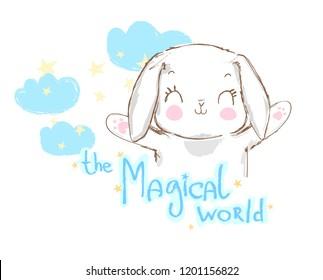 Hand Drawn Cute Rabbit, sketch vector illustration, children print on t-shirt, Magical world.