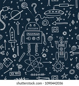 Hand drawn cute robots. Seamless pattern. Vector illustration.