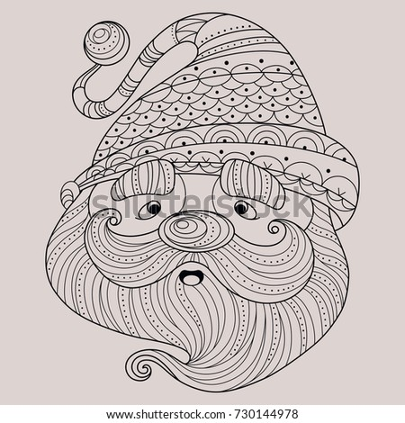 hand drawn cute santa claus coloring book pages for kids and adults vector illustration