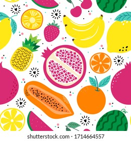Hand drawn cute seamless pattern  fruits, Orange, Banana, Pomegranate, Cherry, Strawberry, Pineapple, Watermelon, Lemon and leaf on white  background. Vector illustration.