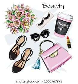 Hand drawn cute set with cosmetic, accessories and coffee cup. Bag, lipstick, false eyelashes, sunglasses and flowers, shoes. Sketch. Vector illustration.