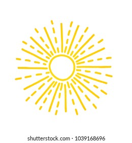 Hand drawn cute shinny sun. Vector graphic illustration. Yellow summer logo, symbol, icon, sign.