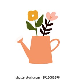Hand drawn Cute Spring flower bouquet in watering can illustration