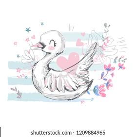 Hand Drawn Cute Swan.  Vector Illustration, print design, children print on t-shirt, sketch bird