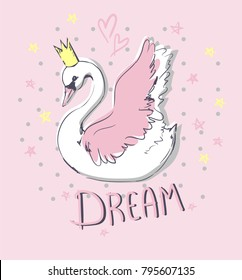 Hand Drawn Cute Swan Vector Illustration, print design swan, children print on t-shirt, sketch bird, Dream