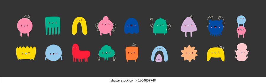 Hand drawn cute Tiny Little Doodle Monsters. Cheerful face emotions. Colorful big Vector set. Trendy illustration for kids. All elements are isolated on black background - Shutterstock ID 1684859749
