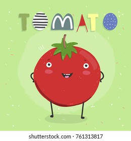 Hand drawn cute tomato. Cartoon style vector illustration. Green background