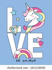 Hand drawn cute unicorn illustration for t shirt printing