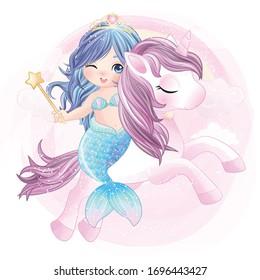 Hand drawn cute unicorn and mermaid