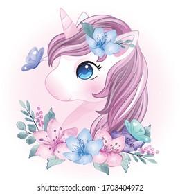 Hand drawn cute unicorn portrait