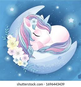 Hand drawn cute unicorn sleeping in the moon