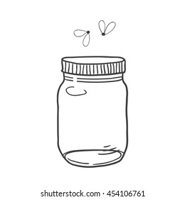 Hand drawn cute vector illustration of a mason jar with fireflies, summer, dreams, wedding and romance concept illustration